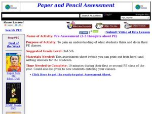 Physical Education Pre-Assessment Lesson Plan