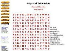 Physical Education Word Search Worksheet