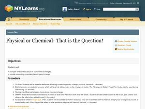 Physical or Chemical? That Is the Question Lesson Plan