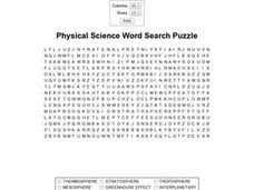 Physical Science Word Search Worksheet