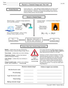 "Physical vs. Chemical Changes and ""The Code"" Worksheet"