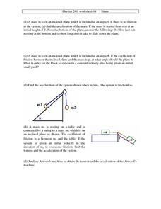 Physics 240: Newton's Laws Worksheet