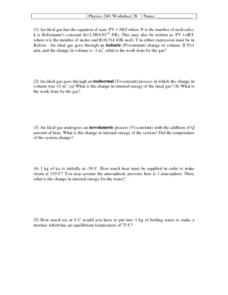 Physics 240: Thermodynamics Worksheet