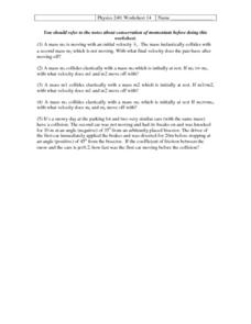 Physics 240:Worksheet 14-Velocity Worksheet