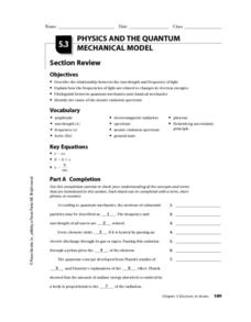 Physics and the Quantum Mechanical Model Worksheet