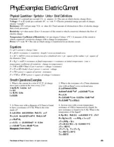 Phyz Examples: Electric Current Worksheet
