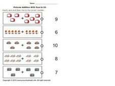Picture Addition with sum to 10, #3 Worksheet