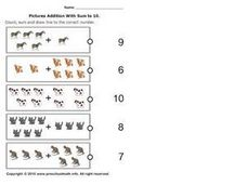 Picture Addition with Sum to 10, #4 Worksheet