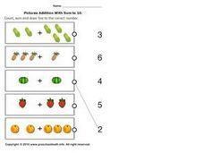 Picture Addition with Sum to 10, #5 Worksheet