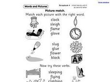 Picture Match: Initial Blends with L Worksheet