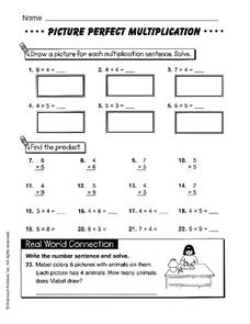 Picture Perfect Multiplication Worksheet
