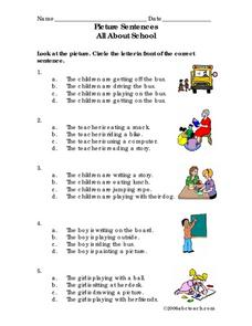 Picture Sentences --All About School Lesson Plan