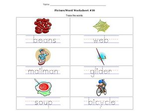 Picture/Word Handwriting Practice Worksheet