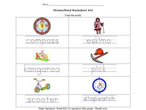 Picture/Word Worksheet #32- Trace the Words Worksheet