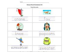 Picture/Word Worksheet #33 Worksheet