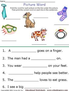 Picture Words and Sentences Worksheet
