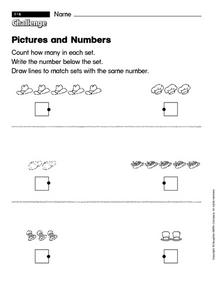Pictures and Numbers Worksheet