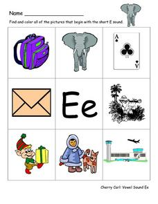 "Pictures With ""E"" Worksheet"