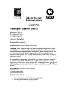 Piercing the World of Silence Lesson Plan