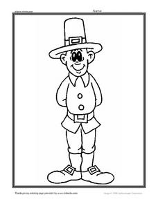 Pilgrim Coloring Worksheet