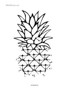 Pineapple Dot to Dot Worksheet