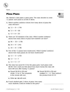 Pizza Plans Number Sense Enrichment Worksheet Worksheet