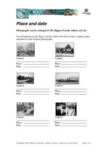 Place and Date Worksheet