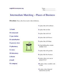 Place of Business- Intermediate ESL Matching Worksheet