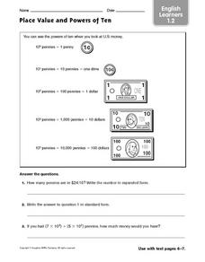 Place Value and Powers of Ten Worksheet