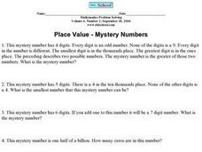 Place Value Mystery Numbers Worksheet