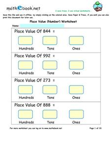 Place Value (Number) Worksheet Worksheet