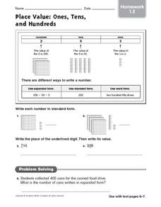Place Value: Ones, Tens and Hundreds: Worksheet 3 Worksheet