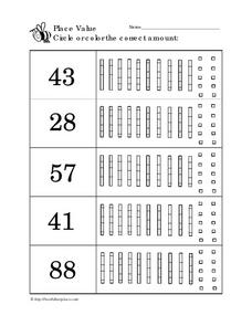 Place Value: Show the Correct Amount Worksheet