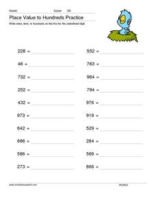 Place Value To Hundreds Practice Worksheet
