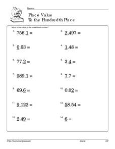Place Value To the Hundredth Place Worksheet