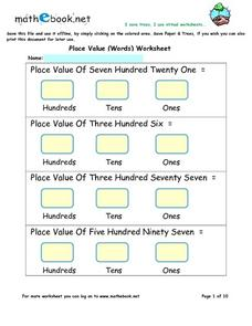 Place Value Words Worksheet Worksheet