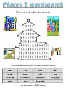 Places 2 Word Search Worksheet