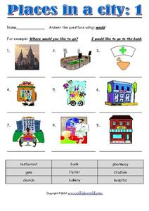 places in a city 1 2nd 4th grade worksheet lesson planet. Black Bedroom Furniture Sets. Home Design Ideas
