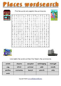 Places Word Search Worksheet
