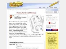 Placing Words in a Dictionary Worksheet