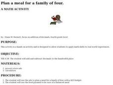 Plan A Meal For A Family Of Four Lesson Plan