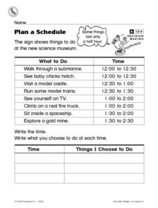 Plan a Schedule Worksheet