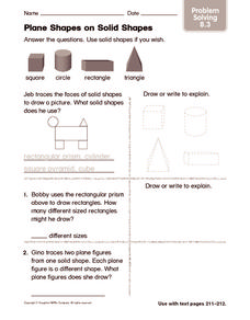 Plane Shapes on Solid Shapes: Problem Solving Worksheet
