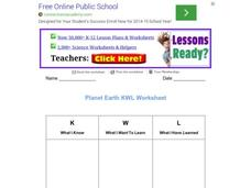 Planet Earth KWL Worksheet Worksheet