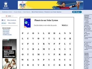 Planets in Our Solar System Word Search Worksheet