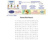 Planets Word Search Worksheet