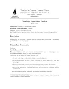 Planning a Naturalized Garden Lesson Plan