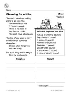 Planning For a Hike Worksheet