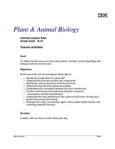 Plant and Animal biology Lesson Plan