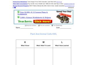 Plant and Animal Cells KWL Chart Worksheet